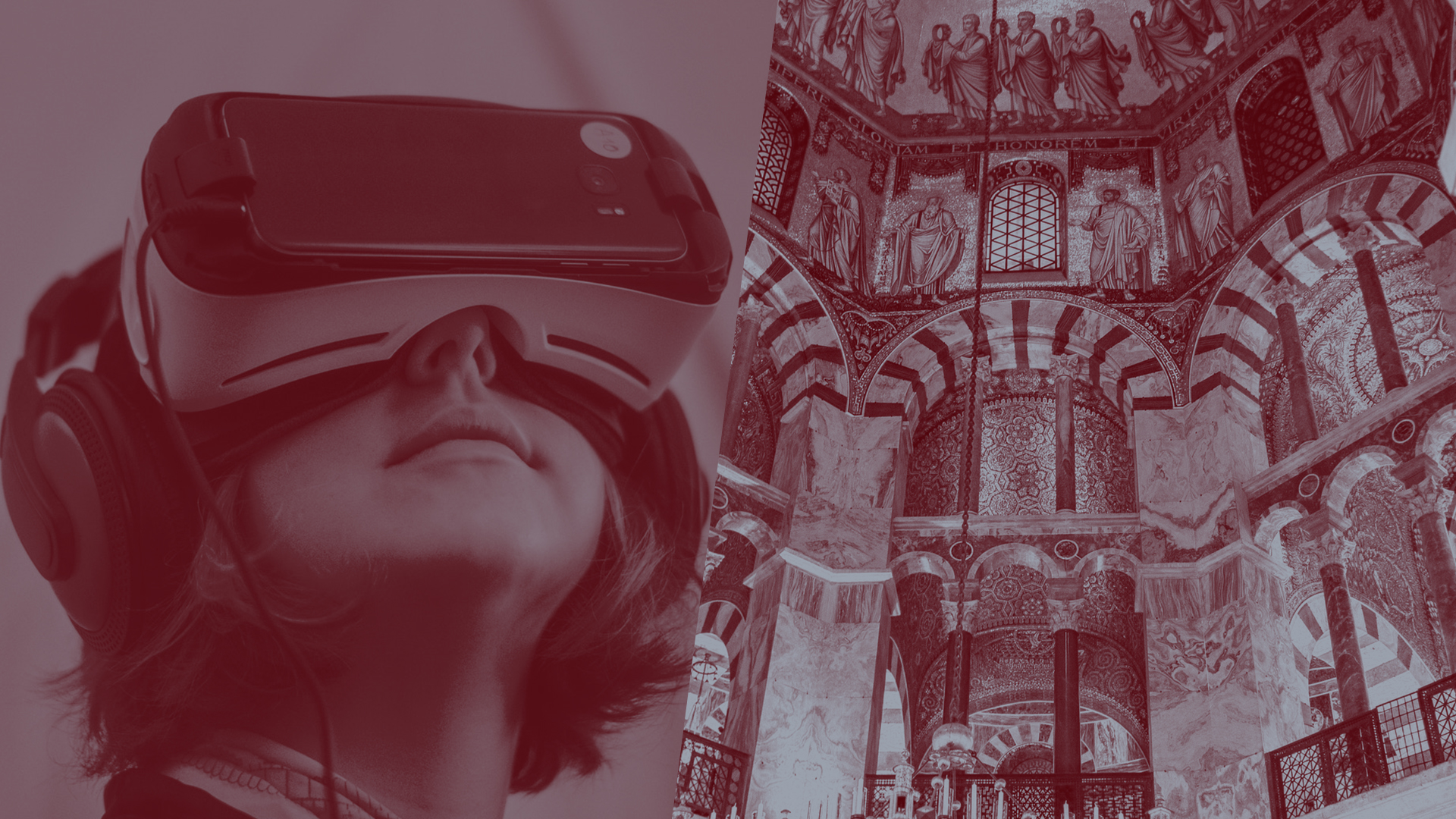 Man with VR glasses & interior view of a cathedral